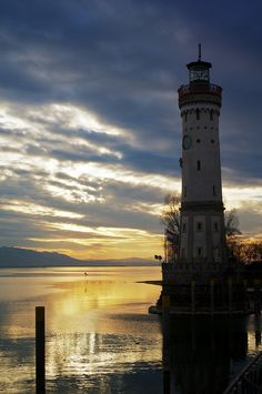 Harbour Lighthouse, Lindau, Bavaria, Germany.    Go to www.YourTravelVideos.com or just click on photo for home videos and much more on sites like this.