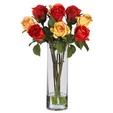 Red and Peach Silk Rose Arrangement with Glass Cylinder Vase | Nearly Natural