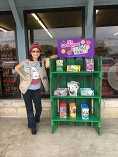 First booth of the season, with the new cookie display Scout Mom, Girl Scout Swap, Daisy Girl Scouts, Girl Scout Leader, Girl Scout Troop, Cub Scouts, Girl Scout Cookie Sales, Girl Scout Cookies, Cookie Display