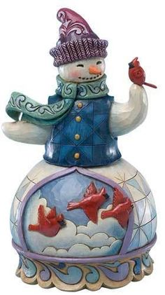 Jim Shore Heartwood Creek CLASSIC CHRISTMAS SNOWMAN WITH CARDINALS 4022933