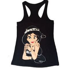 Princess Jasmin Misfits Tattoos Disney Punk Tank Top Ladies New ($13) ❤ liked on Polyvore featuring tops
