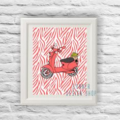 Vespa Scooter Art Print Retro Bike Printable by BannerDesignShop