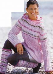"""Скачать бесплатно схему """"Пуловер с капюшоном и гетры"""" - spicami.net"""