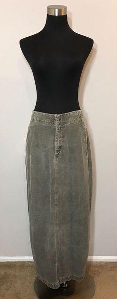 Eddie Bauer Womens Size 10 Skirt Gray Corduroy Maxi Vented Straight Vintage  | eBay