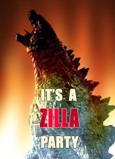 Godzilla-Dinosaur-Birthday Invitation-Birthday Card-Birthday Party- 5 X 7 -2 Sided