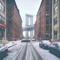 First Snow in DUMBO ❤ liked on Polyvore featuring backgrounds, pictures, instagram, photos and art