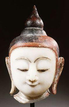 a burmese, shan style, alabaster head of buddha shakyamuni 18TH CENTURY