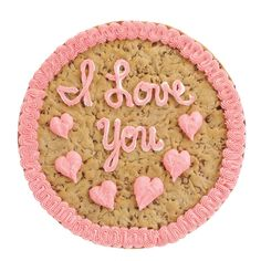 Hearts and cookie - the perfect match on a Mrs. Fields Big Cookie Cake