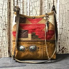 Navajo bucket bag with vintage waxed canvas base and sterling/turquoise conchos