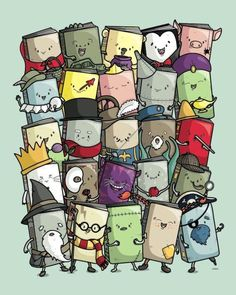 Can you identify the books?  I would love this on a shirt.