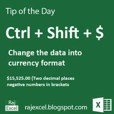 Tips of the Day Using  Ctrl + Shift + $  (Shortcut Key) Microsoft Excel