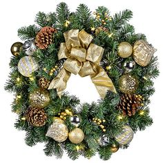 """Pre-Lit Versailles Wreath-26"""" ($70) ❤ liked on Polyvore featuring home, home decor, holiday decorations, mini christmas ornaments, christmas ornaments, xmas ornaments, battery operated christmas wreaths and mini ornaments"""