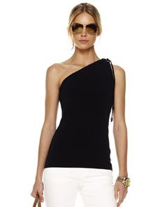 Love one shoulder tanks and love black and white together...perfect! Michael Kors.