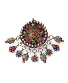 Algeria | Silver, enamel and coral fibula. Beni Yenni, Great Kabilya | ca. early 20th century | 300 € ~ sold (Dec '14):