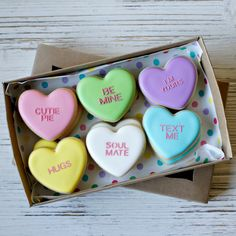 PREORDER Small Conversation Heart Valentine's Day Cookies - 1 Dozen decorated sugar cookies - ARRIVES FEB 10-12 unless otherwise noted by LHEBakes on Etsy https://www.etsy.com/listing/262183287/preorder-small-conversation-heart