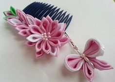 This is a set. You will receive a lovely comb and a cute hair pin. A sweet pink flower is being accompanied with a happy butterfly.  <Flower> This delicate flower is about 2 inches in diameter. The size of the cute butterfly is about 1.5 inches in diameter. From the flower to the tip of leaves, the comb spreads out about 3.5 inches long.  Charming accessories for your special occasion.  **A NOTE ABOUT COLOR: Color may vary since monitors differ.  I ship Monday through Friday. Orders pla...