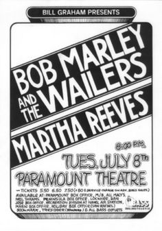 Bob Marley And The Wailers - Voice Of The Sufferers - Memorabilia Tour Posters Paramount Theater, The Wailers, Tour Posters, Bob Marley, Reggae, Album Covers, The Voice, Oakland California, Songs