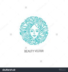 Vector Logo Design Template In Trendy Linear Style With Female Face - Abstract…