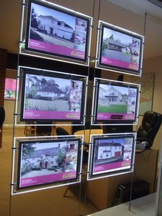 Simple, stylish and immediately eye catching, LED Light Pockets are fast becoming the first stop for Estate Agents looking to update their window displays. Real Estate School, Real Estate Office, Security Room, Agency Office, Office Entrance, Window Signage, Marketing Office, Real Estate Branding, Window Cards