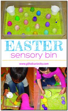 Easter sensory bin for preschoolers #preschool #ece #sensorybins #sensoryplay #sensorytubs #messyplay #Easter #GiftOfCuriosity    Gift of Curiosity
