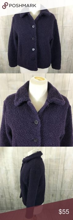 "Eileen Fisher Jacket Boucle Wool Cropped Sz L Eileen Fisher Jacket Boucle Wool Cropped Purple Size Large  Condition Very Good Used Condition no holes or stains, light pilling  Color Dark Purple  Fabric 95 wool 5 nylon boucle knit  Size Large  Measurements Bust 20"" Sleeve 21""  Length 22""  Very nice unlined outerwear weight wool boucle jacket from Eileen Fisher.  Thanks for looking! Eileen Fisher Jackets & Coats"
