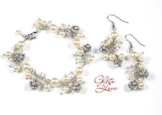 Statement Bridal Jewelry Set, Bracelet and Earrings, Pearl Earrings, wedding Jewelry, Bridesmaid jewelry, by GlitzAndLove