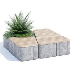 Uniun Seating Model for VRay, Corona Concrete Bench, Concrete Furniture, Bench Furniture, Urban Furniture, Street Furniture, Cheap Furniture, Furniture Design, Outdoor Furniture, Furniture Nyc