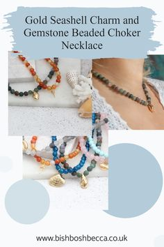 Show off your individuality with these brightly coloured round gemstone choker necklaces with gold plated seashell charms. You can chose cowrie, conch, clam or cockle seashell charms Seashell Necklace, Beaded Choker Necklace, Earrings, Clam, Summer Jewelry, Conch, Pearl White, Gemstone Beads, Sea Shells