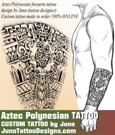 Aztec design with some Polynesian symbols like a gravure in stone -Custom tattoo design by Juno tattoo designer ONLINE - web: junotattoodesigns.com