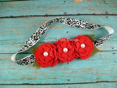 Felt Flower Headband Red Flower Headband by SwankyPickleBoutique