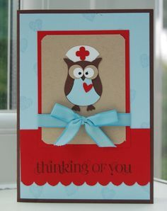 stampin up owl punch valentine - nurse owl get well