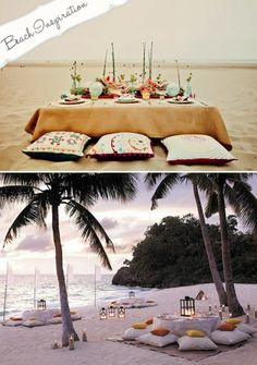 I love the idea of casual seating for a beach wedding. Particularly with candles and lights at dusk. Very pretty.