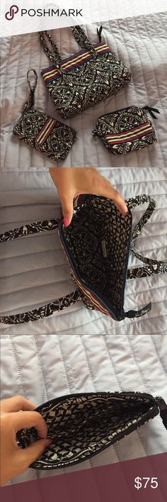 Vera Bradley Set Matching purse, wallet, and make up bag. If you wish to buy them separately, the purse will be $50, wallet $30, and make up bag $20. All prices are negotiable :) Vera Bradley Bags Shoulder Bags