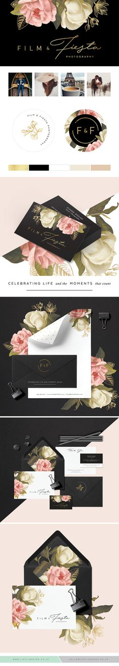 Feminine floral botanical branding for Film & Fiesta Photography. Gold texture. Logo. Businesscard. Black. Minimalist. Elegant. Professional. Sophisticated. Rose gold. Photographer. Photography. Bohemian. Boho. Delicate. Romantic. Blush. Blush & Gold. Playful.