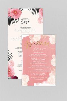 In Portfolio: Cabo Boho Chic Wedding Stationary Stationary Design, Menu Design, Wedding Stationary, Wedding Invitation Cards, Layout Design, Wedding Cards, Print Design, Branding Design, Floral Design
