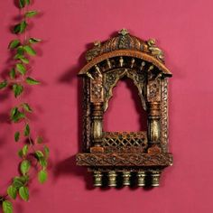 Rustic Wooden Material Window Jharoka With Carved Accent in Brown