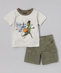 Loving this Cream 'Rock-A-Saurus Rex' Tee & Olive Shorts - Infant & Toddler on #zulily! #zulilyfinds