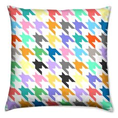 Neon Retro Pop Houndstooth Cushion/Pillow by CSERASURFACEDESGN, $45.00