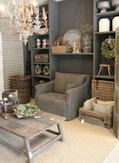 gorgeous colour palette of grey and soft rustic pale wood  http://seizoenenstijl.blogspot.nl