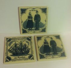 Set of Three (3) Holland America Line Ms Ryndam Ceramic Tile Coaster Delft  #delft #Holland #blue #vintage #tile #trivet #coaster #décor