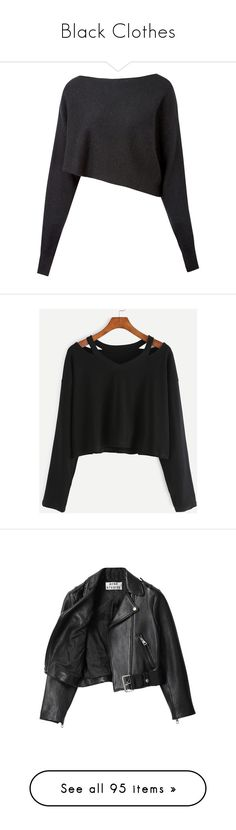 """""""Black Clothes"""" by carlou863 on Polyvore featuring tops, sweaters, shirts, crop tops, cropped long sleeve shirt, boat neck sweater, asymmetrical sweaters, long sleeve sweater, crop top et t-shirts"""