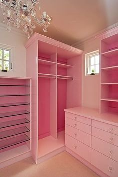 Photo: Happy Monday morning! Here's a darling little girl's custom closet by Classy Closets to brighten your day. Wouldn't this be a fun place to get ready each morning?   #pink #pinkcloset #girlsbedroomdesign