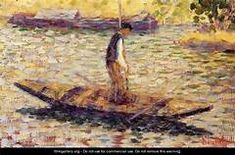 Georges Seurat - Riverman, Oil on wood. Yale University Art Gallery, New Haven, Connecticut, USA. Georges Seurat, Paul Signac, Paul Gauguin, Impressionist Landscape, Impressionist Artists, Renoir, Seurat Paintings, Art Paintings, Art Moderne