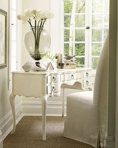 Interior HomeScapes offers the Awendaw Writing Desk by Somerset Bay. Visit our online store to order your Somerset Bay products today. Shabby Chic Furniture, Painted Furniture, Lacquer Furniture, White Furniture, Office Furniture, White Bedroom Vanity, White Vanity, Somerset Bay, Style Louis Xv