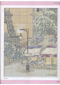 Europe city Paris France downtown, full free cross stitch pattern with DMC labeling - Page 4