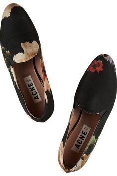 Acne | Noa floral-print canvas loafers | NET-A-PORTER.COM