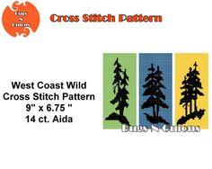 West Coast Wilds Tree Sillhouette  Cross Stitch by BugzAndOnions