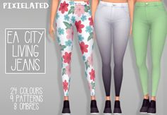 """- 24 solid colours, 9 patterns and 8 ombres of EA's City Living skinny jeans - each are stand alone recolours - female, teen to elder - feel free to tag me using #pixielated - you can request things..."