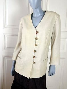 German Vintage Linen Blazer, Cream-Colored Natural Fiber Jacket w Faux Antler Buttons, Traditional Trachten Smart Blazer: Size 18 US, 22 UK by YouLookAmazing on Etsy