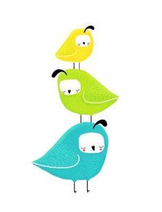 3 Little Birds   Quail   Art Print
